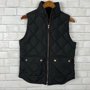 J. Crew black quilted excursion down feather polyester puffer vest with pockets